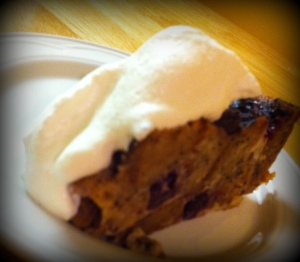 Blueberry Banana Bread Pudding with whip cream