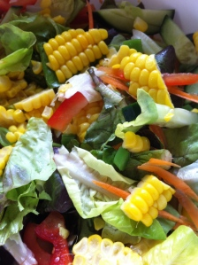 Fresh Corn Summer Salad with Basil Dressing