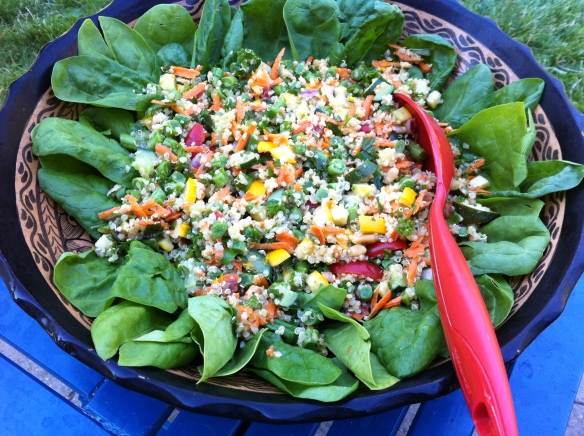Tonight tabouli salad was also made with some grilled zucchini and served on a fresh bed of spinach