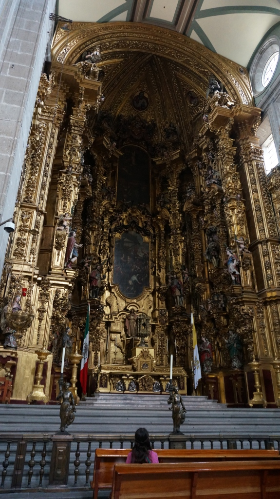 Just one of the many sights to view inside the Grand Cathedral in the Zocalo - hand carved wood overlaid with gold leaf.  So impressive.