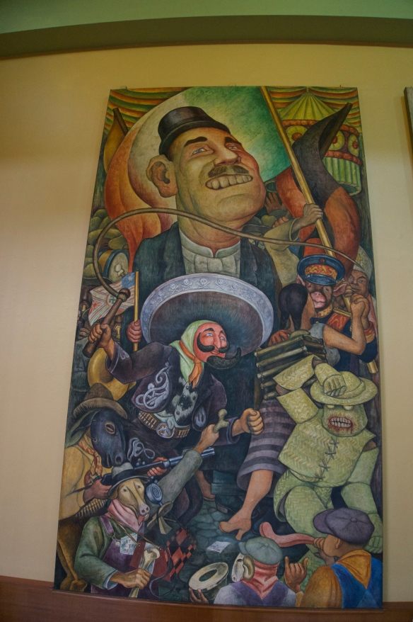 Just one of the many Diego Rivera murals inside the Palace of Fine Arts