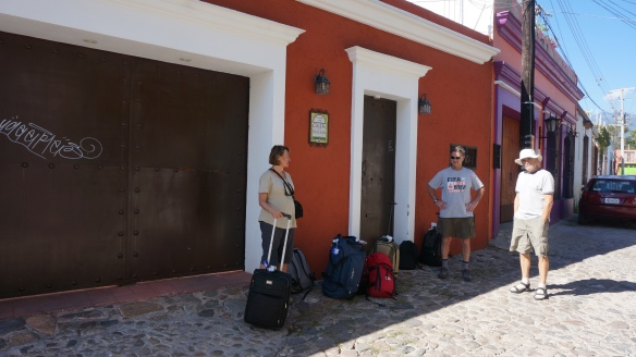 Waiting outside Casa Del Barrio in Oaxaca for our host - Ricardo