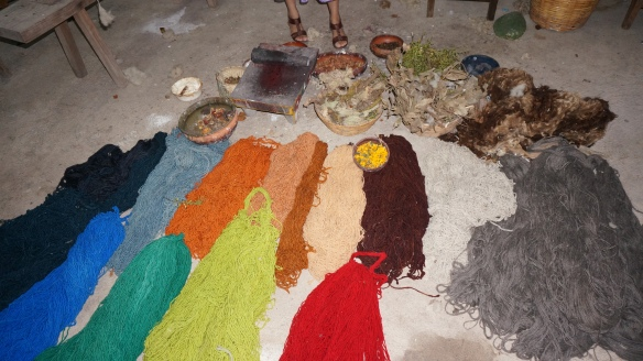 Just a sample of a few of the colours used in the weaving - all made with natural elements of their life.