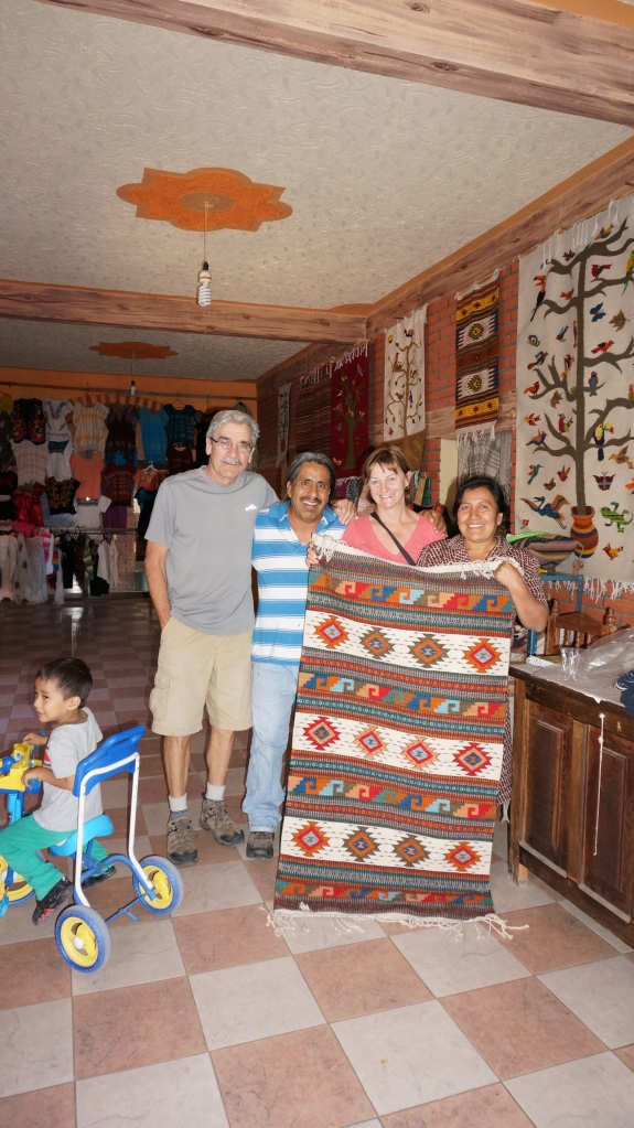 Vivi and Wilson with their weaving purchase - joined by the matriarch and patriarch of the home - Raoul is the one who ended up driving us to Mitla and Hierve de Agua.