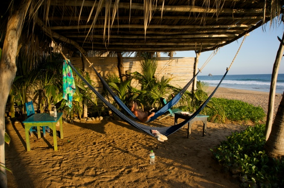 hammocks in front of our cabana, surf for boogie boarding right in front … (we watch - Grant boogie boards) life is pretty darn good