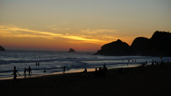 The beach at Zipolite - just as the sun dropped over the horizon.