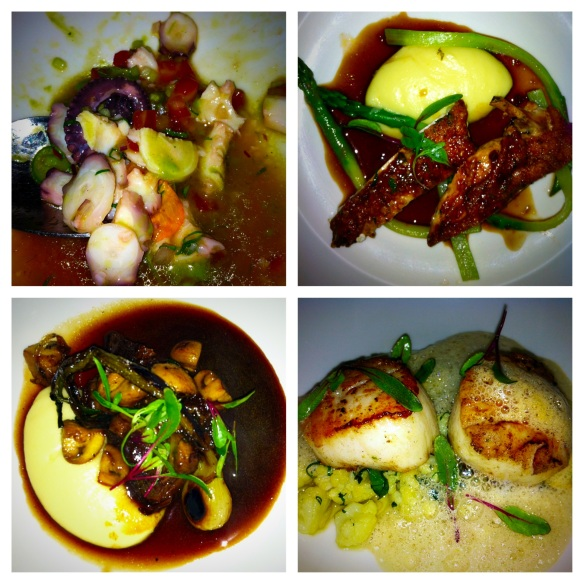 Just a sampling of our feast, scallops on a langosta foam chicken on a bed of papas cream short ribs octopus ceviche
