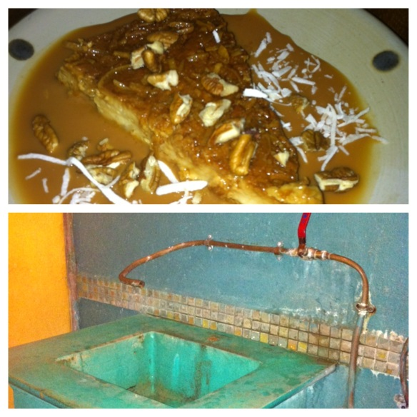 Only in Mexico ….. a fancy restaurant, fabulous dinner, followed by our favourite dessert - flan with caramel mescal sauce and crunchy pecans and coconut - then wash up in a bathroom that looks like this!  How can you not love this place?