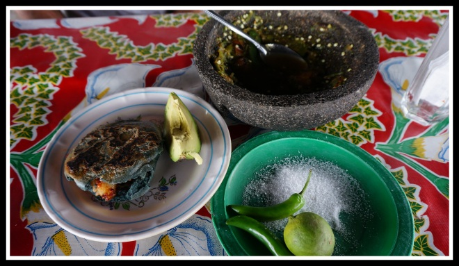 Blue corn gorditas stuffed with potato and chorizo