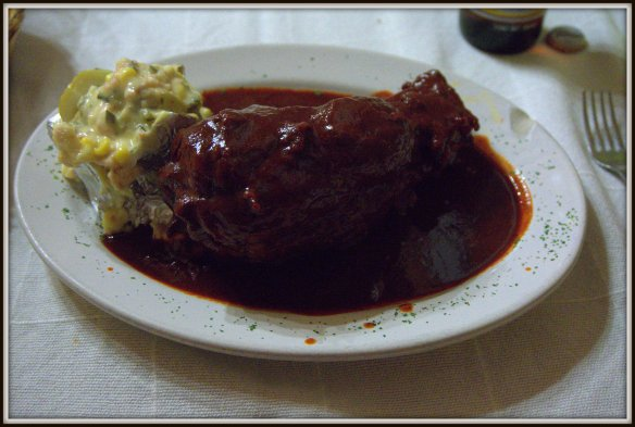 Chamorro Adobado in Patzcuaro - pork shank in adobe sauce.