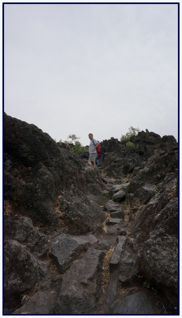 Climbing up the lava rock …. up up up