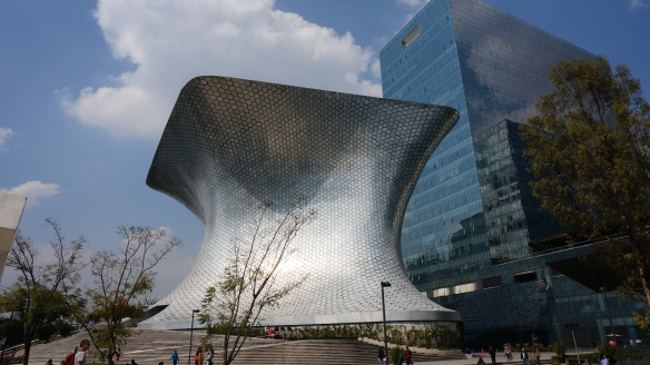 Exterior of Carlos Slim Gallery (dedicated to his wife), like a shimmering mirror.