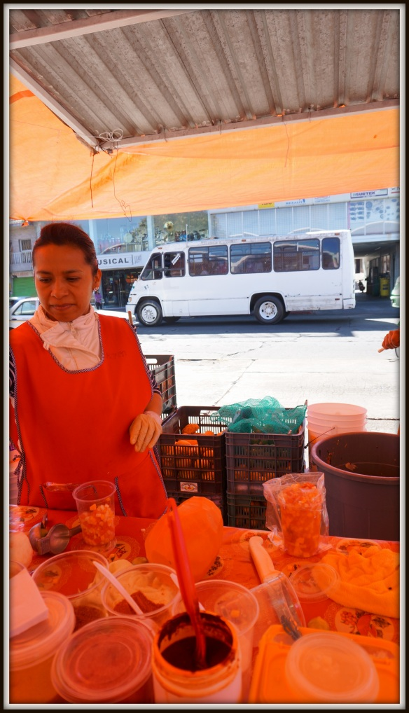Gazpacho stand at the market in Morelia - fruit minced finely, dusted with chiles, orange and cheese traditionally.