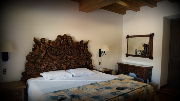 Our beautiful carved headboard