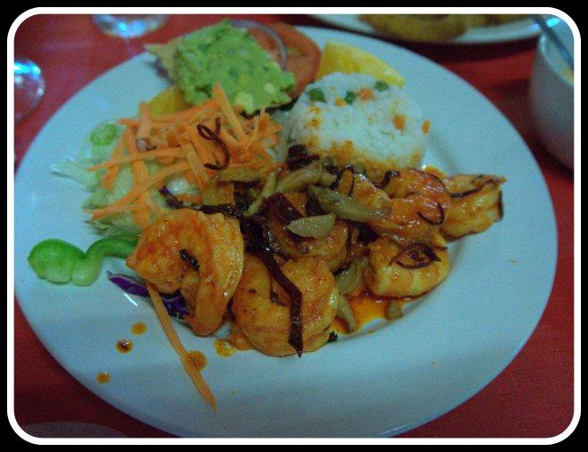 Camerones cooked with guajillo chiles and garlic at Mariscos La Guera - so delicious.