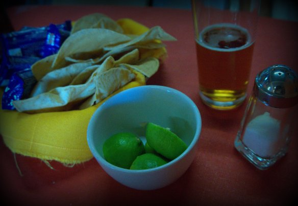 Pretty much every time you sit at a restaurant in Mexico you will receive some version of this … chips, lime, salt and various salsas.