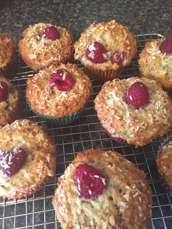 Delicious muffins - loaded with coconut and raspberry with just a hint of lemon to brighten them up.
