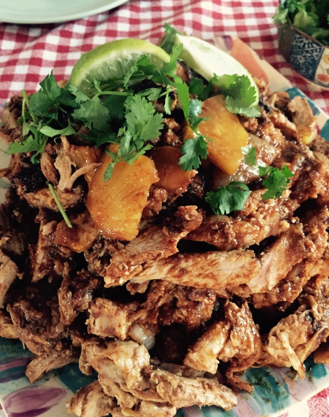 A plate of pork, seasoned with Tacos al Pastor flavours and just waiting for fresh corn tortillas!