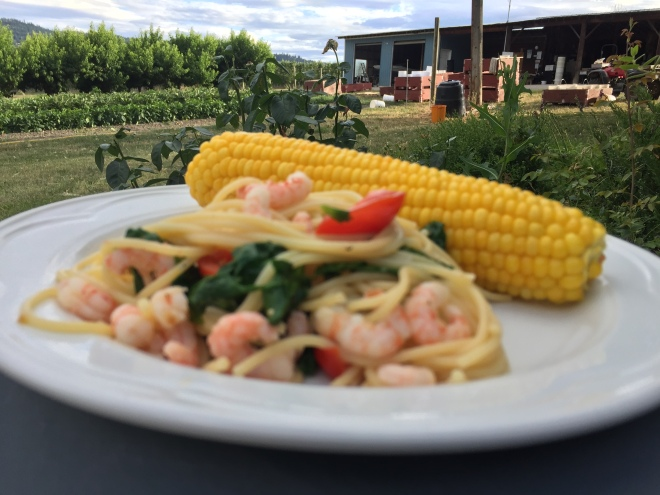 Freshly harvested corn, spinach and tomatoes make this deliciously simple pasta dish extra tasty.